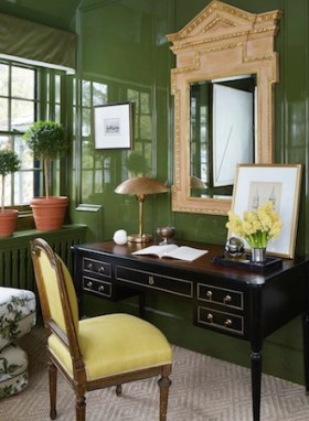 Rich-saturated-green-color-home-office