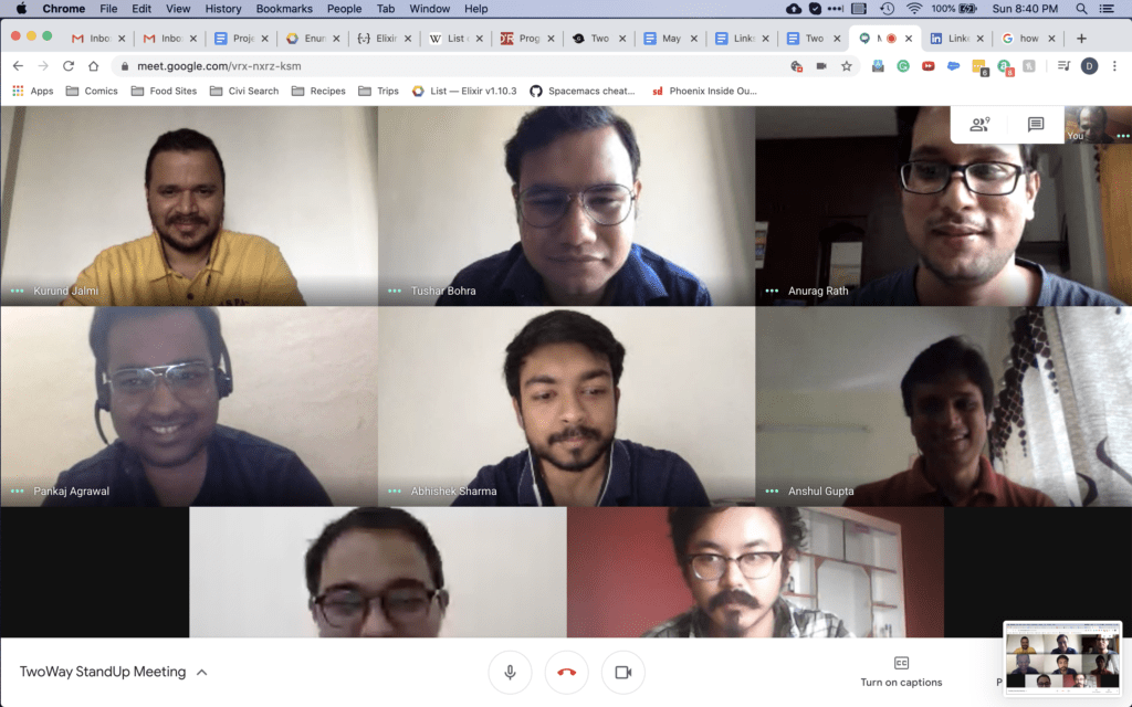 The team on our morning standup call