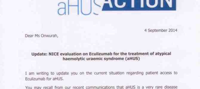 AHUS ACTION update re NICE evaluation on Eculizumab