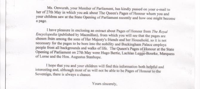Buckingham Palace letter re Queen's Pages of Honour