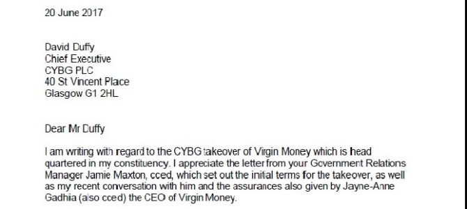 Letter to CYBG raising concerns and seeking assurances regarding Virgin Money takeover