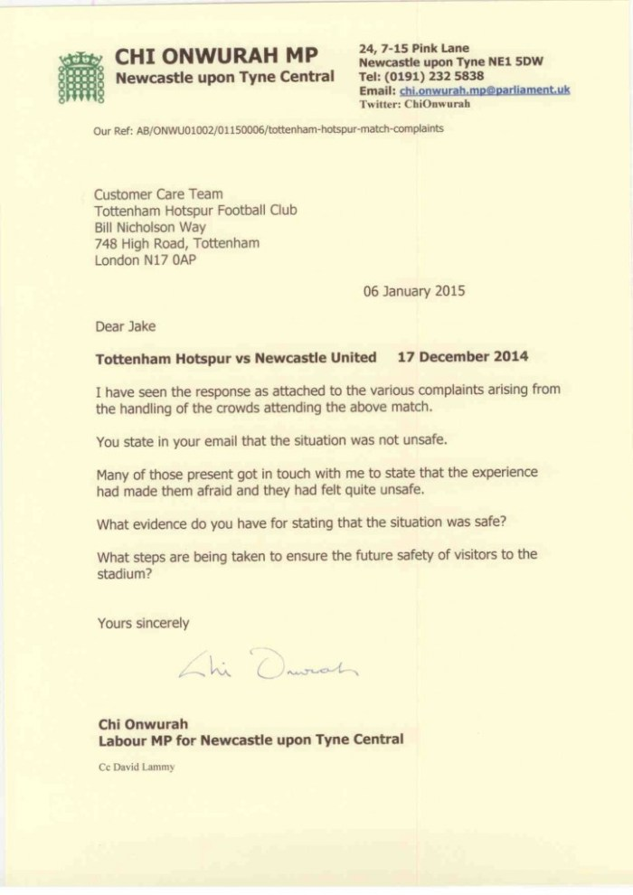 Chi ltr to Tottenham Hotspur re 17 Dec 14 crowd control on 06 January 2015