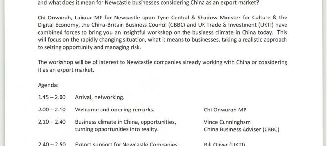 China workshop 16 October – Beyond the Headlines – Doing Business Today With