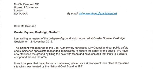 Coal Authority letter re Craster Square ground collapse