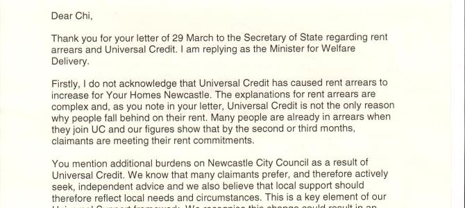 Ministers response to Universal Credit and growing rent arrears