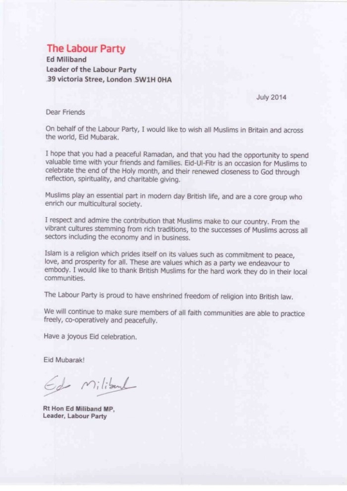 Eid message from Ed Miliband