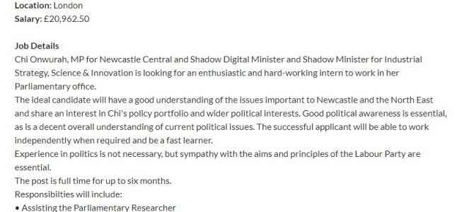Recruiting a paid Parliamentary intern in Westminster