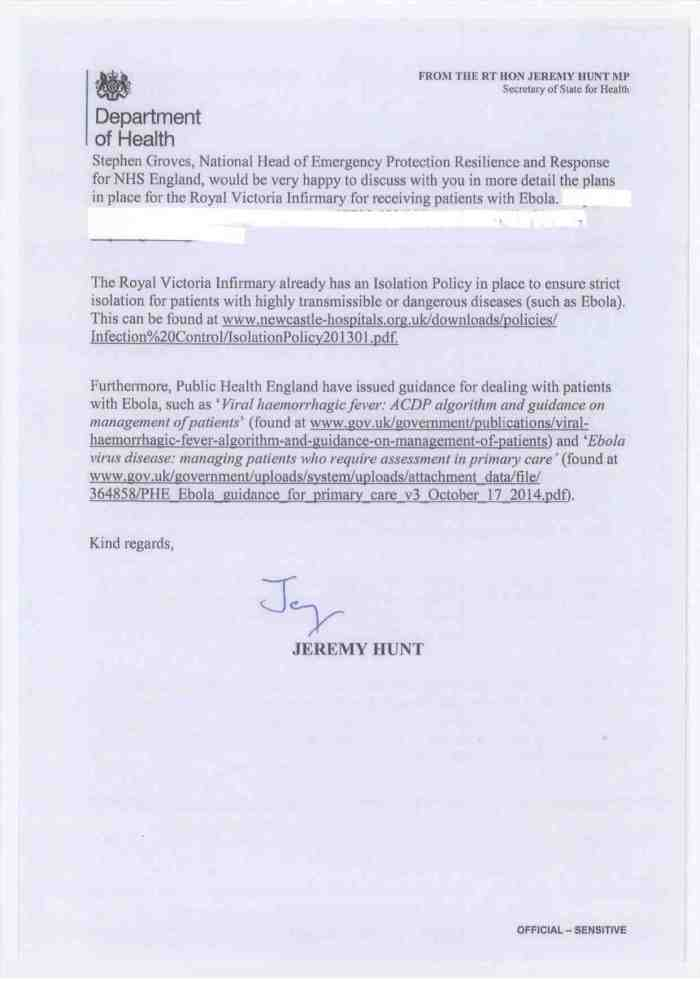 Jeremy Hunt SoS foir Health reply Ebola patients at the RVI Oct 20142