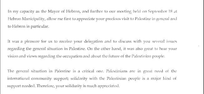 Letter from the Mayor of Hebron