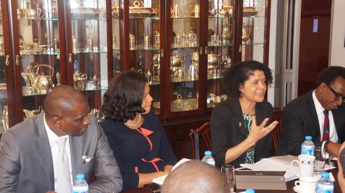 Chi Onwurah MP speaking at a meeting with Digital and Technology businesses in Lagos