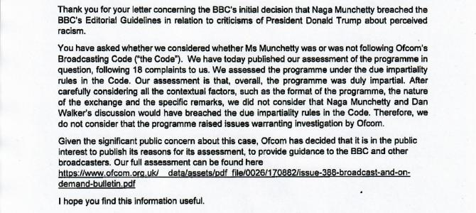 Ofcom response to Naga Munchetty criticism of President Trump's racist remarks