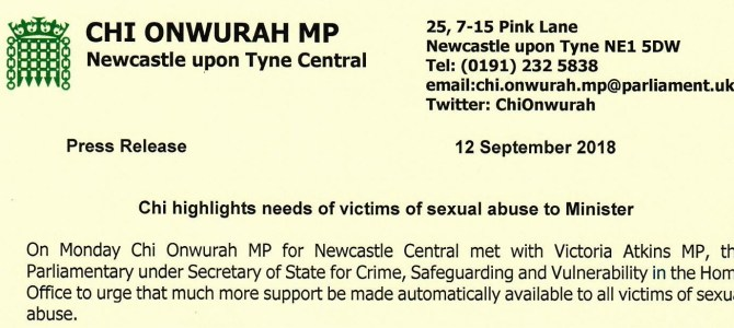Meeting with Minister to urge support for victims of sexual abuse