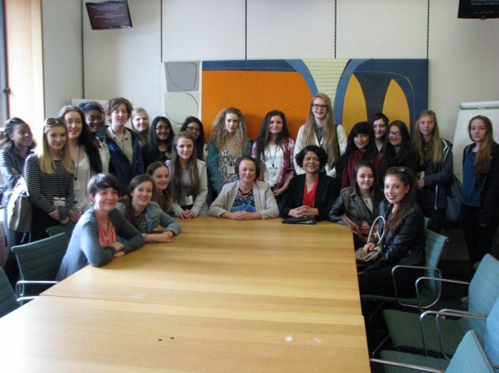 Sacred Heart Year 10 pupils in Parliament adj two