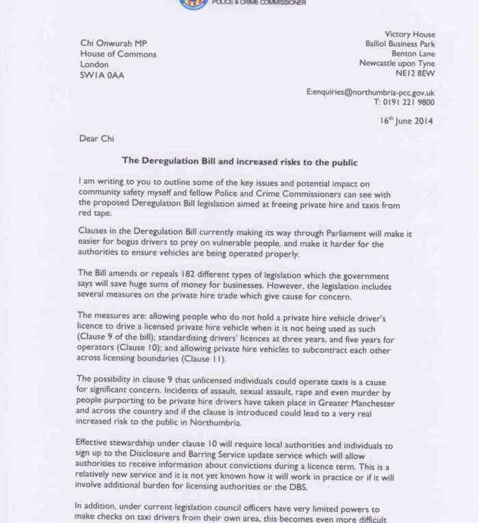 Taxi deregulation concerns Vera Baird 16 june 2014
