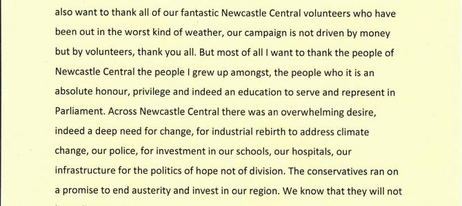 2019 General Election: Newcastle upon Tyne Central declaration of victory speech.