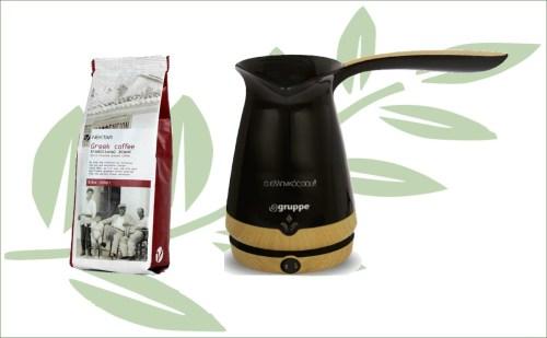 Griekse koffiepot met Griekse koffie