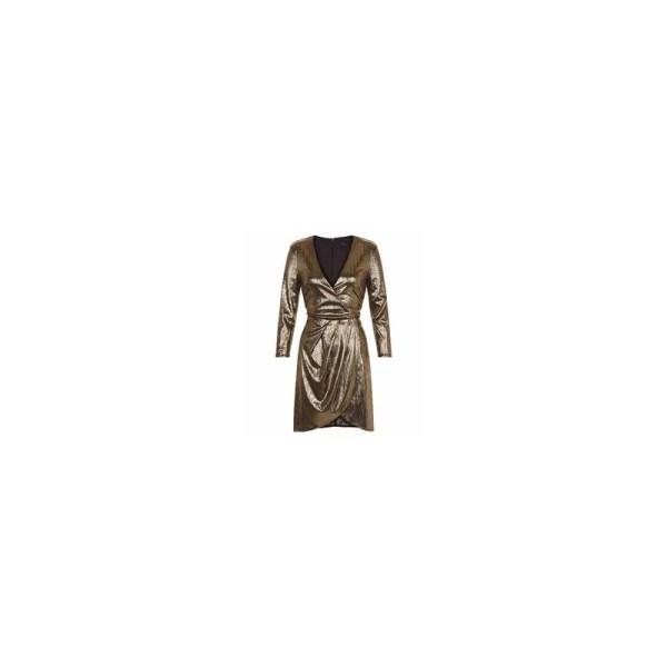 New Look Gold Metallic 3/4 Sleeve Wrap Front Bodycon Dress