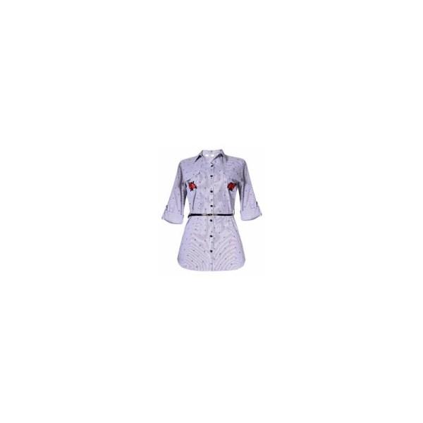 Secen Rose Print 3/4 Sleeve Stripe Shirt Dress