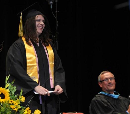 Hailey Nowacek with award