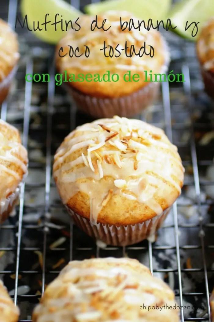 Muffins de banana y coco tostado