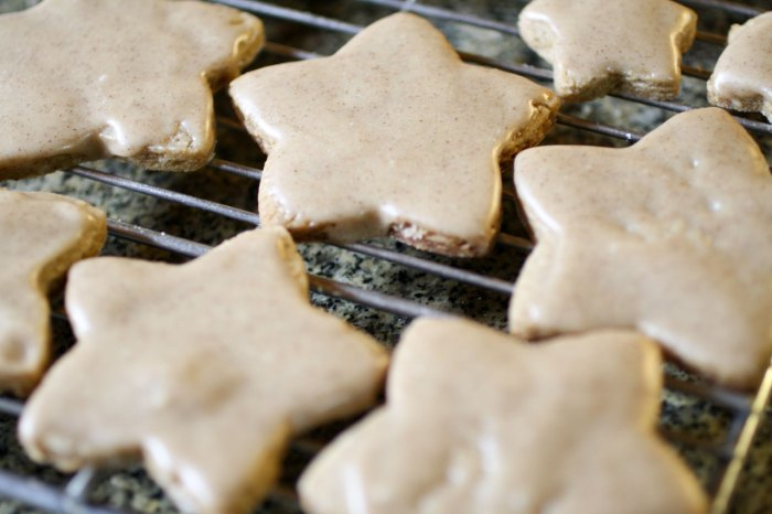 iced star shape cookies on a cooling rack.
