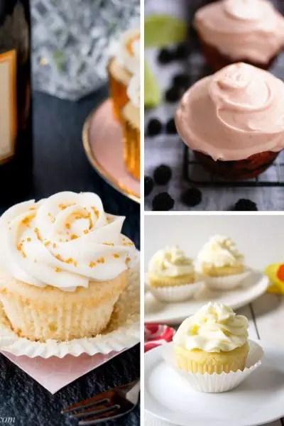 champagne cupcakes, blackberry lime cupcakes, lemon cupcakes