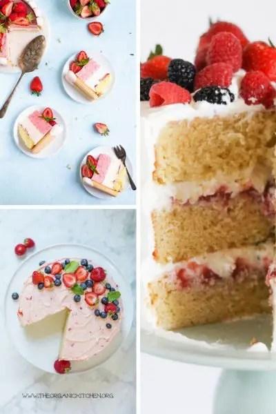 strawberry champagne cake, vanilla buttermilk cake and chantilly cake