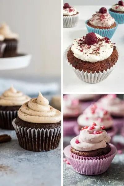 cherry chocolate cupcakes, dark chocolate cherry cupcakes and cacao cupcakes