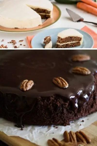 carrot cake, chocolate cake with coconut chocolate ganache