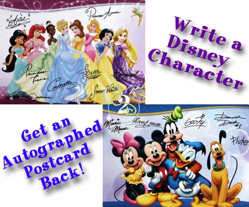 Get a free Autographed Postcard from the Disney Characters!