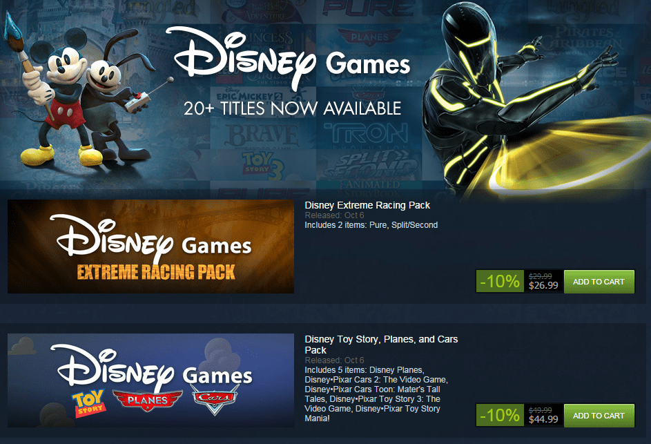 Disney Brings the Magic to Steam With More Than 20 Titles for PC – On sale now with 10% off till Oct 12th
