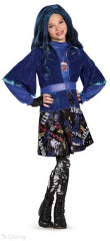 """Descendants Evie Deluxe Costume & Wig Licensee: Disguise MSRP: $39.99 costume; $14.99 wig Retailers: Mass Retailers and Costume Specialty Retailers Available: September 2015 Dress up like Evie from Disney's """"Descendants."""" The Evie costume features her signature cape. Complete your Descendants costume with a blue wig featuring Evie's signature widow's peak braid."""