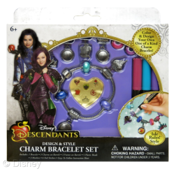 "Descendants Design & Style Charm Bracelet Set Licensee: Innovative Designs MSRP: $8.99 each Retailers: Toys ""R"" Us & Kohl's Available: August 15 Design your own one of a kind charm bracelet! The assortment includes two styles – ""Isle Rules!"" and ""Auradon Cool""."