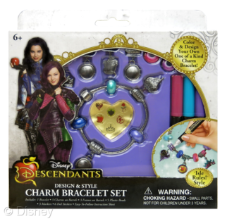 """Descendants Design & Style Charm Bracelet Set Licensee: Innovative Designs MSRP: $8.99 each Retailers: Toys """"R"""" Us & Kohl's Available: August 15 Design your own one of a kind charm bracelet! The assortment includes two styles – """"Isle Rules!"""" and """"Auradon Cool""""."""