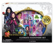 "Descendants Ultimate Stationery Set Licensee: Innovative Designs MSRP: $14.99 Retailers: Toys ""R"" Us Available: Now This back to school essential includes a spiral journal, plastic pencil case, sticker sheet, slap bracelet ruler, three mini gel pens, lipstick eraser and more!"