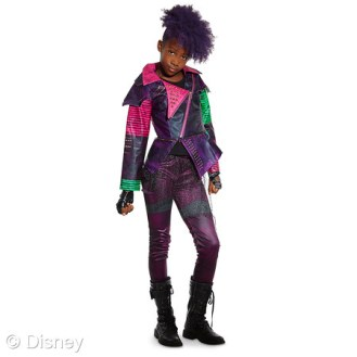 "Descendants Mal Costume for Kids MSRP: $44.95 Retailers: Disney Store and DisneyStore.com Available: Now It's easy to imagine being the star of the Disney Channel movie ""Descendants"" with this Mal costume. Wearing this two-piece outfit with faux leather jacket, your student of spells will transform into the daughter of villainous Maleficent."