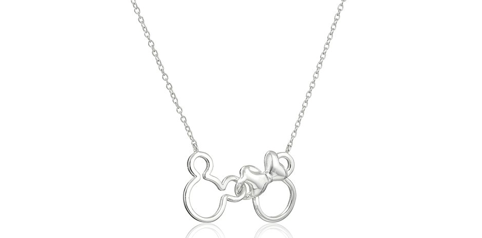Minnie and Mickey Mouse Silhouette Pendant Necklace