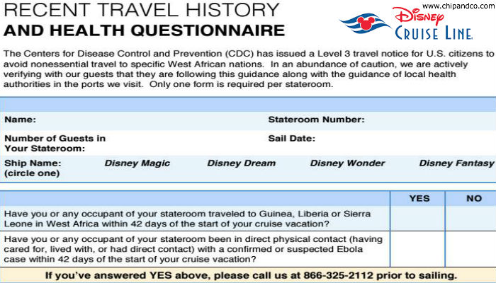 Disney Cruise Line Emailing Out Travel History and Health Questionnaire