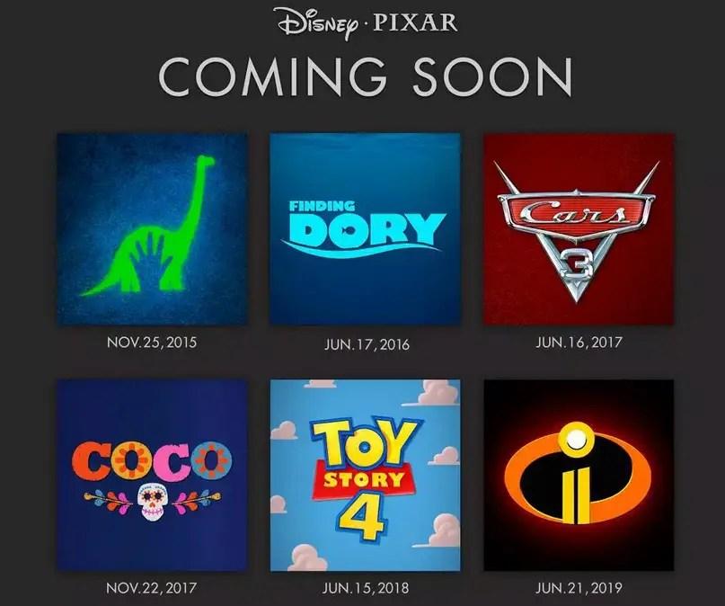 Disney/Pixar Release Schedule for next 4 years