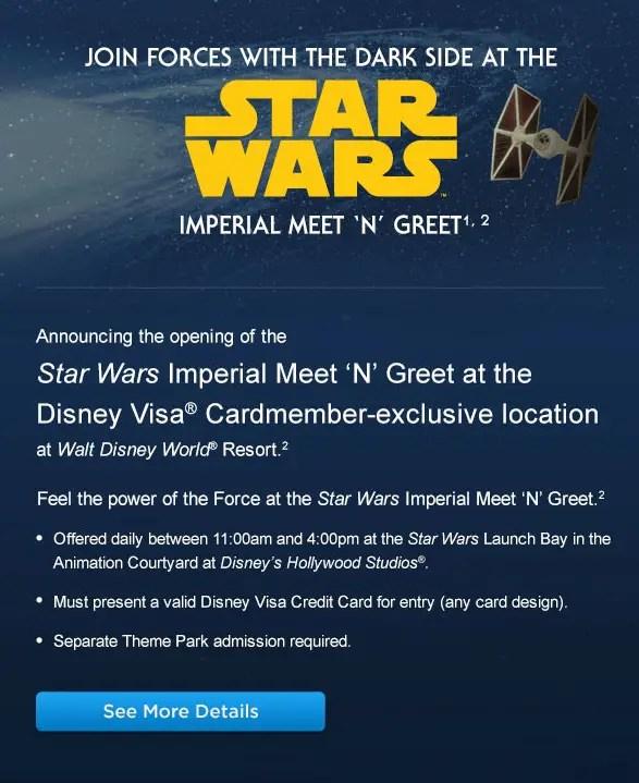 Star Wars Imperial Meet 'N' Greet in Hollywood Studios for Disney Visa Card Members!
