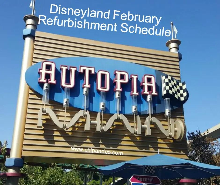 Disneyland Resort Refurbishment Schedule for February 2016