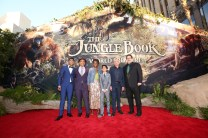 """HOLLYWOOD, CALIFORNIA - APRIL 04: (L-R) Actors Ritesh Rajan, Giancarlo Esposito, Lupita Nyong'o, Neel Sethi and Ben Kingsley and director/producer Jon Favreau attend The World Premiere of Disney's """"THE JUNGLE BOOK"""" at the El Capitan Theatre on April 4, 2016 in Hollywood, California. (Photo by Jesse Grant/Getty Images for Disney) *** Local Caption *** Neel Sethi; Lupita Nyong'o; Ritesh Rajan; Ben Kingsley; Giancarlo Esposito; Jon Favreau"""