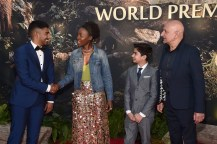 """HOLLYWOOD, CALIFORNIA - APRIL 04: (L-R) Actors Ritesh Rajan, Lupita Nyong'o, Neel Sethi and Ben Kingsley attend The World Premiere of Disney's """"THE JUNGLE BOOK"""" at the El Capitan Theatre on April 4, 2016 in Hollywood, California. (Photo by Alberto E. Rodriguez/Getty Images for Disney) *** Local Caption *** Ritesh Rajan; Neel Sethi; Lupita Nyong'o; Ben Kingsley"""