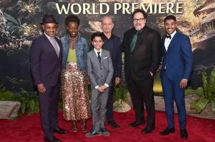 """HOLLYWOOD, CALIFORNIA - APRIL 04: (L-R) Actors Giancarlo Esposito, Lupita Nyong'o, Neel Sethi, Sir Ben Kingsley, director Jon Favreau and actor Ritesh Rajan attend The World Premiere of Disney's """"THE JUNGLE BOOK"""" at the El Capitan Theatre on April 4, 2016 in Hollywood, California. (Photo by Alberto E. Rodriguez/Getty Images for Disney) *** Local Caption *** Giancarlo Esposito; Lupita Nyong'o; Neel Sethi; Ben Kingsley; Jon Favreau; Ritesh Rajan"""