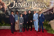"""HOLLYWOOD, CALIFORNIA - APRIL 04: (L-R) Actors Giancarlo Esposito, Lupita Nyong'o, Neel Sethi, Sir Ben Kingsley, director Jon Favreau, actors Russell Peters and Ritesh Rajan attend The World Premiere of Disney's """"THE JUNGLE BOOK"""" at the El Capitan Theatre on April 4, 2016 in Hollywood, California. (Photo by Alberto E. Rodriguez/Getty Images for Disney) *** Local Caption *** Giancarlo Esposito; Lupita Nyong'o; Neel Sethi; Ben Kingsley; Jon Favreau; Ritesh Rajan; Ritesh Rajan"""