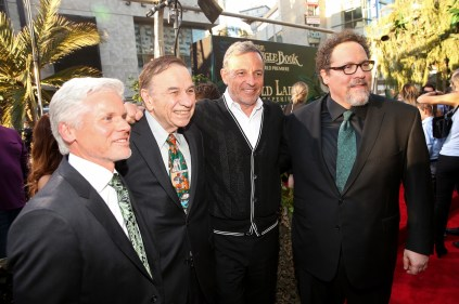 """HOLLYWOOD, CALIFORNIA - APRIL 04: (L-R) Producer Brigham Taylor, composer Richard Sherman, Chairman and CEO, The Walt Disney Company, Bob Iger and director Jon Favreau attend The World Premiere of Disney's """"THE JUNGLE BOOK"""" at the El Capitan Theatre on April 4, 2016 in Hollywood, California. (Photo by Jesse Grant/Getty Images for Disney) *** Local Caption *** Brigham Taylor; Richard Sherman; Bob Iger; Jon Favreau"""