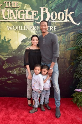 """HOLLYWOOD, CALIFORNIA - APRIL 04: Melissa Johnson (L) and professional basketball player Wes Johnson, with family, attend The World Premiere of Disney's """"THE JUNGLE BOOK"""" at the El Capitan Theatre on April 4, 2016 in Hollywood, California. (Photo by Alberto E. Rodriguez/Getty Images for Disney) *** Local Caption *** Melissa Johnson; Wes Johnson"""