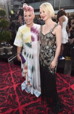 HOLLYWOOD, CA - MAY 23: Recording artist Pink (L) and actress Mia Wasikowska attend Disney's 'Alice Through the Looking Glass' premiere with the cast of the film, which included Johnny Depp, Anne Hathaway, Mia Wasikowska and Sacha Baron Cohen at the El Capitan Theatre on May 23, 2016 in Hollywood, California. (Photo by Alberto E. Rodriguez/Getty Images for Disney) *** Local Caption *** Pink; Mia Wasikowska