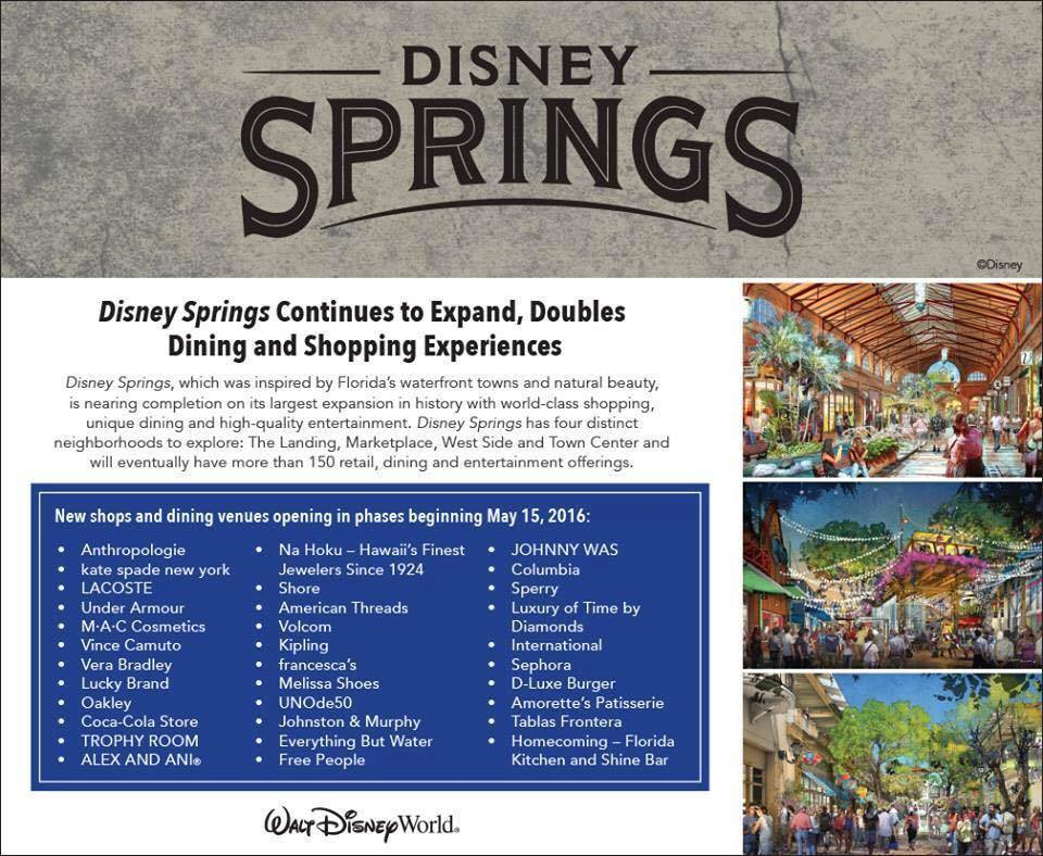 Complete List of Disney Springs Restaurant and Stores Opening on May 15th