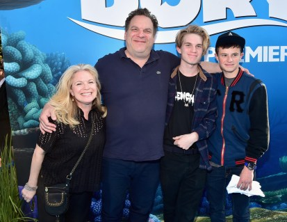 HOLLYWOOD, CA - JUNE 08: (L-R) Casting director Marla Garlin, actor/comedian Jeff Garlin, Duke Garlin and Duke Keaton attend The World Premiere of Disney-Pixar's FINDING DORY on Wednesday, June 8, 2016 in Hollywood, California. (Photo by Alberto E. Rodriguez/Getty Images for Disney) *** Local Caption *** Marla Garlin; Jeff Garlin; Duke Garlin; Duke Keaton